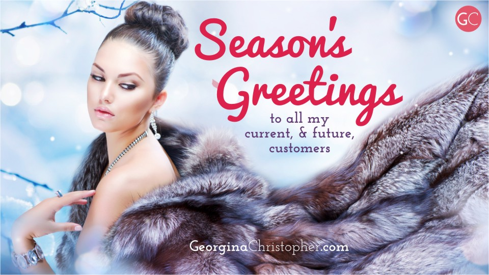 Season's Greetings from GeorginaChistopher.com South Wales Mobile Hairdresser Weddings Bridal Hair